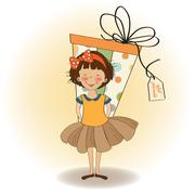 Pretty young girl she hide a big gift Stock Illustration