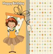 pretty young girl she hide a big gift - stock illustration