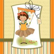 Stock Illustration of pretty young girl she hide a big gift