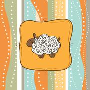 Stock Illustration of funny greeting card with cartoon sheep