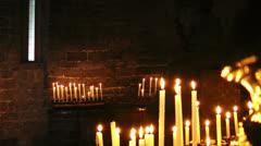 Burning candles, Church of Saint Peter, Portovenere Stock Footage