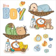 baby boy weighed on the scale, items set on white background - stock illustration