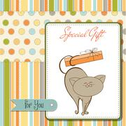 Stock Illustration of special gift card with cat