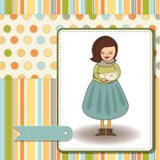 Young girl with she special gift Stock Illustration