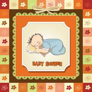 baby shower card with little baby boy sleep with his teddy bear toy - stock illustration