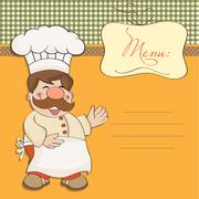 background with smiling chef and menu - stock illustration