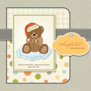 Stock Illustration of customizable greeting card with teddy bear