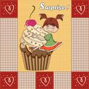 Stock Illustration of birthday card with funny girl perched on cupcake