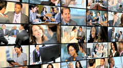 3D video wall of financial view with Multi ethnic managers Stock Footage
