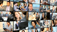 Stock Video Footage of 3D video wall of financial view with Multi ethnic managers