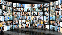 3D video wall montage business managers working on phone - stock footage