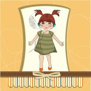 young girl listening to music on headphones and dancing - stock illustration