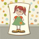 Stock Illustration of funny young girl amused and distrustful