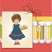 Curly young girl she hide a gift Stock Illustration