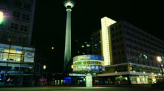 The World clock with the Fernsehturm in the background Stock Footage
