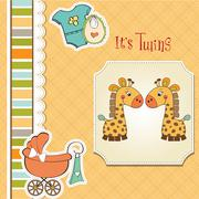 Baby twins shower card Stock Illustration