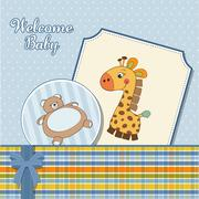 Stock Illustration of baby boy announcement card