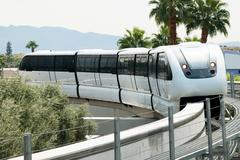 monorail arriving to the station on the las vegas strip - stock photo