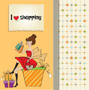 Pretty young woman who is happy that she went shopping Stock Illustration