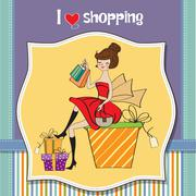 pretty young woman who is happy that she went shopping - stock illustration