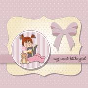 sweet little girl reading a book - stock illustration