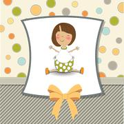 Stock Illustration of new baby girl announcement card