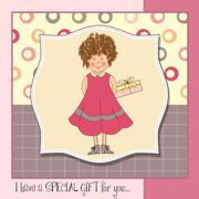 curly young girl she hide a gift - stock illustration