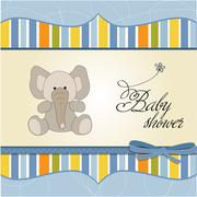 Stock Illustration of new baby boy announcement card