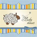Stock Illustration of cute baby shower card with sheep