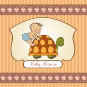 Stock Illustration of funny baby boy announcement card