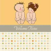 baby twins shower card - stock illustration