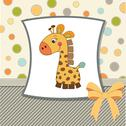 Stock Illustration of greeting card with giraffe toy