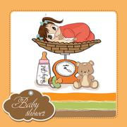 beautiful baby girl on on weighing scale - stock illustration