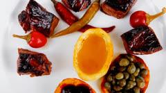 European food: roast beef meat goulash Stock Footage