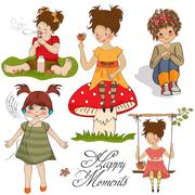 happy moments items collection on white background - stock illustration