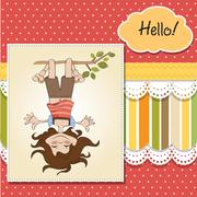 amused young girl standing with her head hanging down - stock illustration