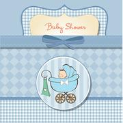 baby boy announcement card with baby and pram - stock illustration
