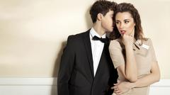 sensual young couple in elegant clothes - stock photo
