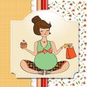 Stock Illustration of baby announcement card with pregnant woman