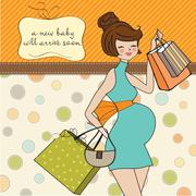 Baby announcement card with beautiful pregnant woman on shopping Stock Illustration