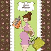 baby announcement card with beautiful pregnant woman on shopping - stock illustration