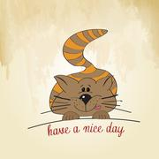 Kitty wishes you a nice day Stock Illustration