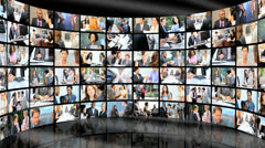 3D wall montage of Multi ethnic business managers working city - stock footage