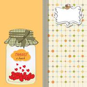 Thank you greeting card with hearts plugged into the jar Stock Illustration