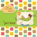 Stock Illustration of little girl siting in a pea been. baby announcement card