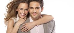 panoramic style photo of young couple - stock photo