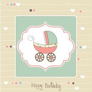 Stock Illustration of baby girl announcement card