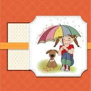 young pretty girl and her dog, friendship card - stock illustration