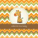 Stock Illustration of new baby announcement card with giraffe