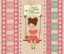Young girl in a swing Stock Illustration